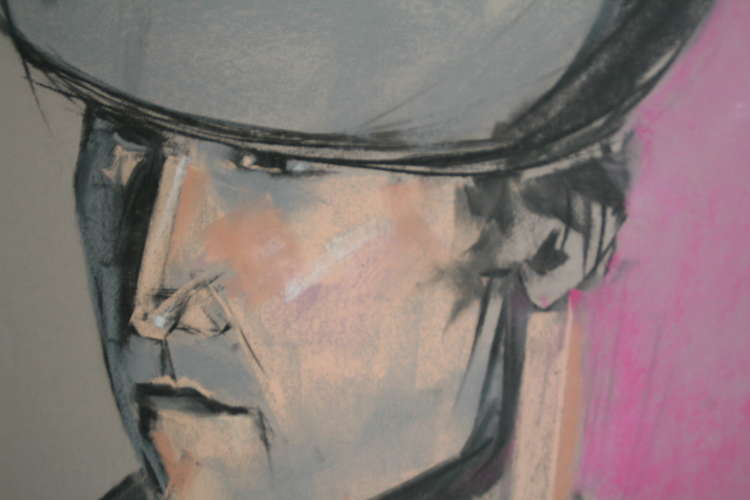 Man with Hat, Pastel, 18x24, $$250.0000